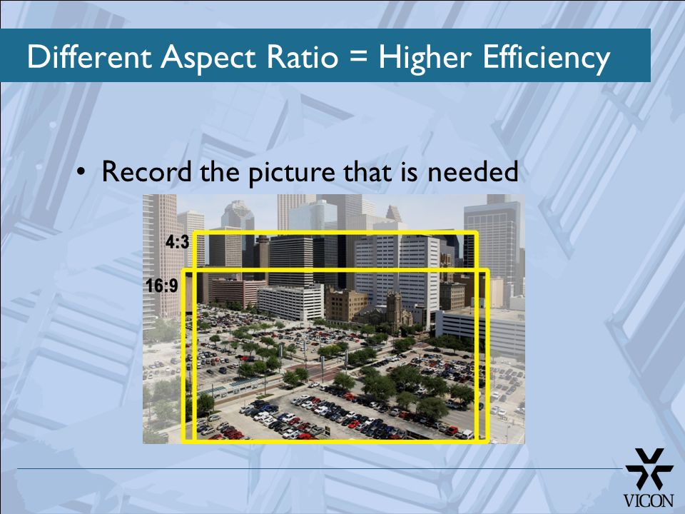 Different Aspect Ratio = Higher Efficiency Record the picture that is needed