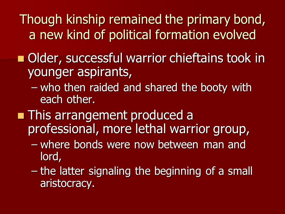 Though kinship remained the primary bond, a new kind of political formation evolved Older, successful warrior chieftains took in younger aspirants, Older, successful warrior chieftains took in younger aspirants, –who then raided and shared the booty with each other.