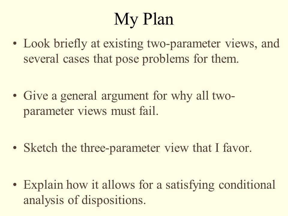 My Plan Look briefly at existing two-parameter views, and several cases that pose problems for them.