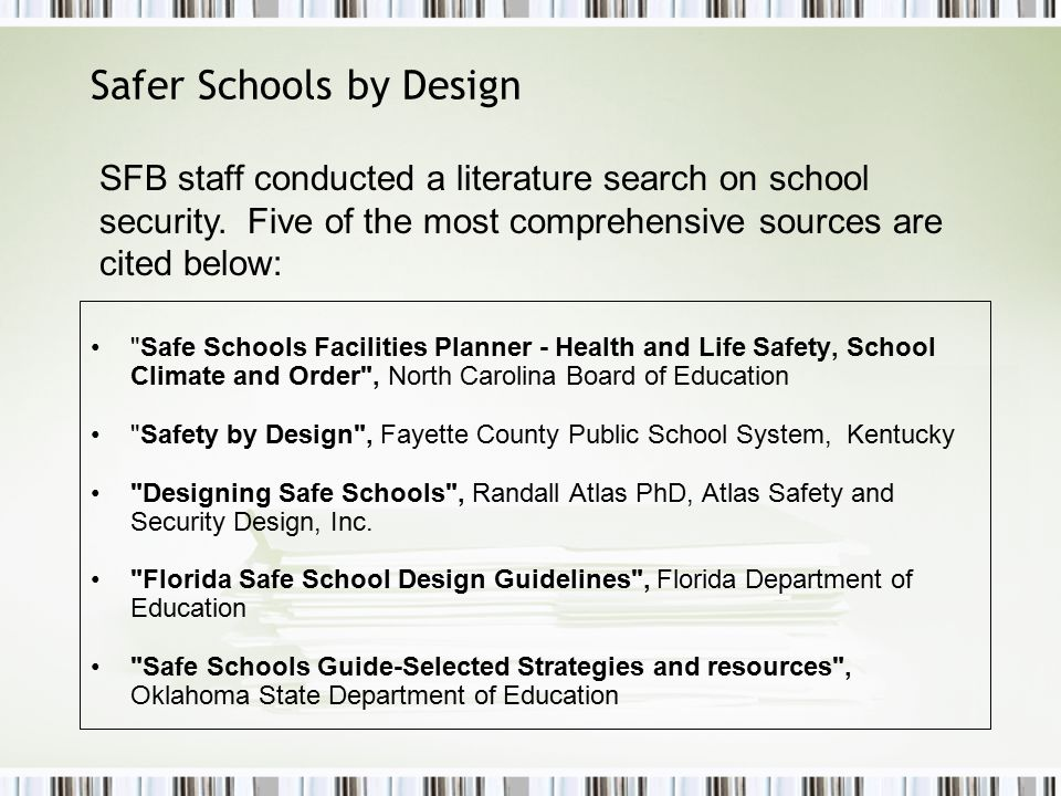 Safer Schools by Design Non-Physical Measures Jeffco has implemented: A district-wide safety plan and crisis response plan.