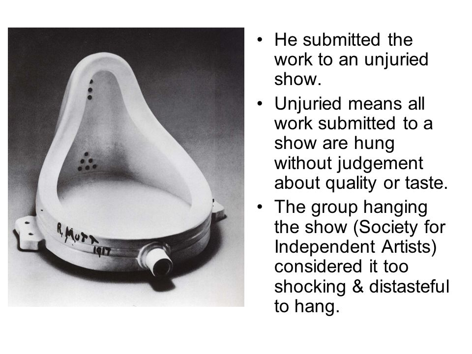He submitted the work to an unjuried show. Unjuried means all work submitted to a show are hung without judgement about quality or taste. The group ha