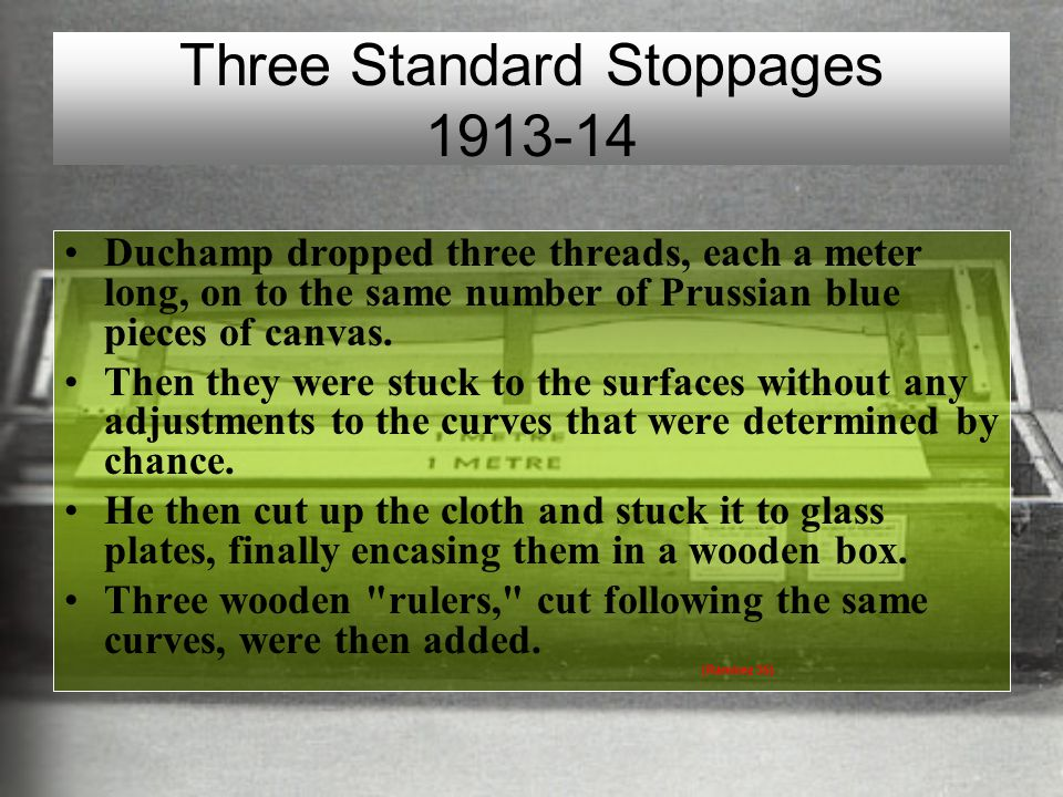 Three Standard Stoppages 1913-14 Duchamp dropped three threads, each a meter long, on to the same number of Prussian blue pieces of canvas. Then they
