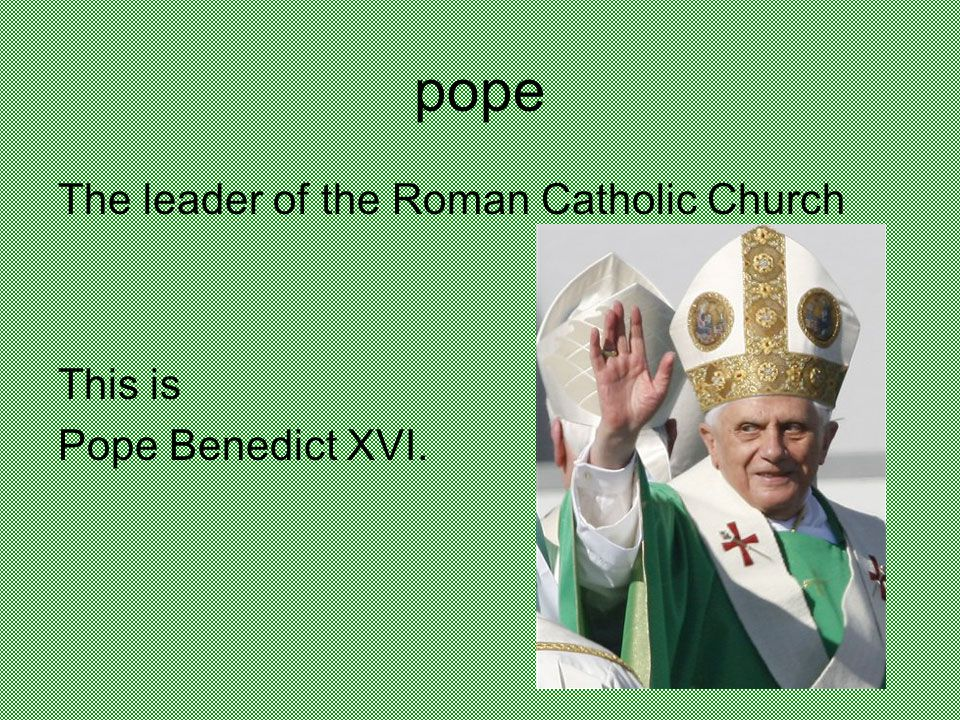 pope The leader of the Roman Catholic Church This is Pope Benedict XVI.