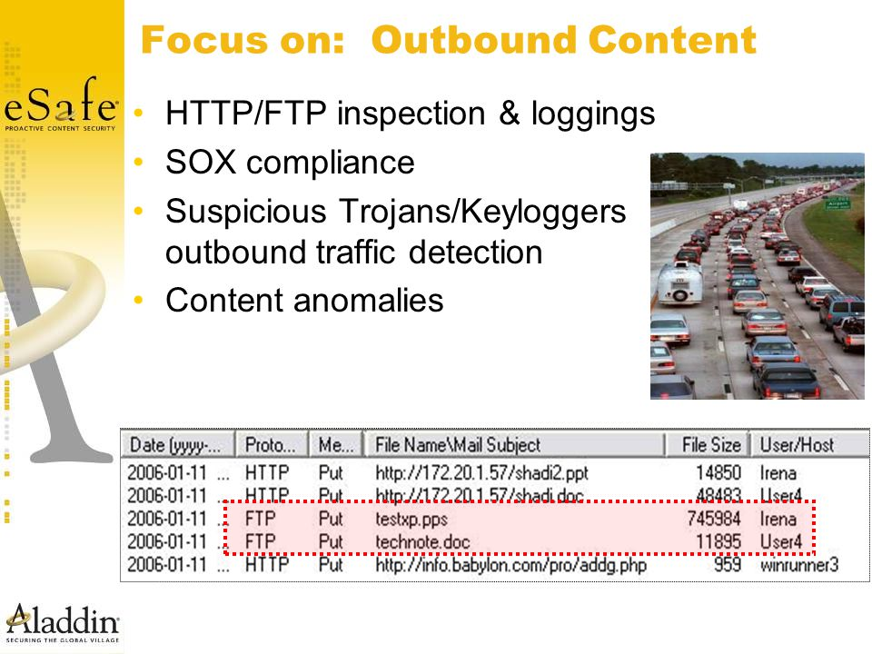 Focus on: Outbound Content HTTP/FTP inspection & loggings SOX compliance Suspicious Trojans/Keyloggers outbound traffic detection Content anomalies