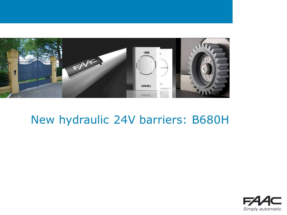Summary  Why a 24V hydraulic barrier?  Barriers future scenario  USPs  Technical specifications
