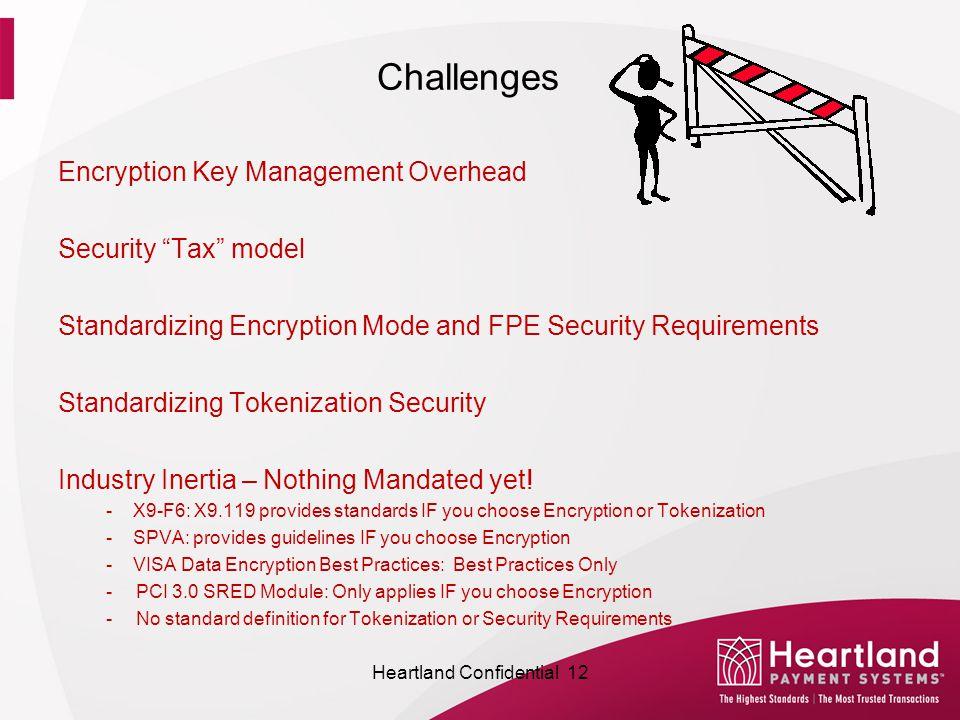 Challenges Encryption Key Management Overhead Security Tax model Standardizing Encryption Mode and FPE Security Requirements Standardizing Tokenization Security Industry Inertia – Nothing Mandated yet.