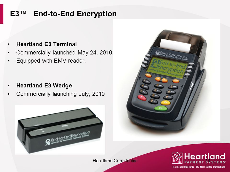 E3™ End-to-End Encryption Heartland E3 Terminal Commercially launched May 24, 2010.