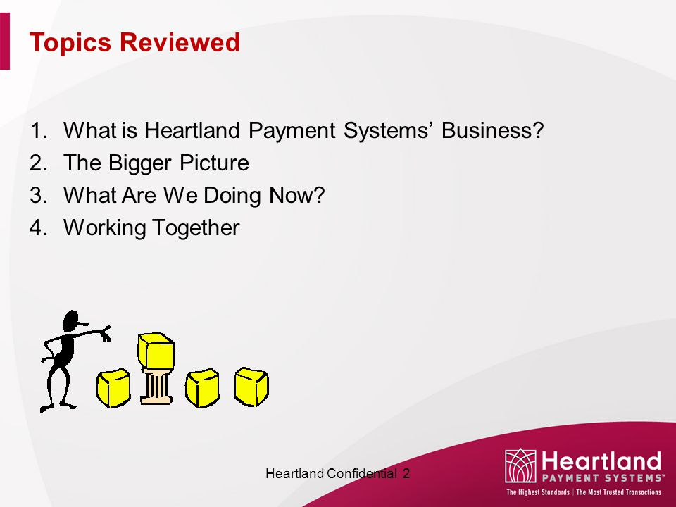 1.What is Heartland Payment Systems' Business? 2.The Bigger Picture 3.What Are We Doing Now? 4.Working Together Topics Reviewed Heartland Confidential