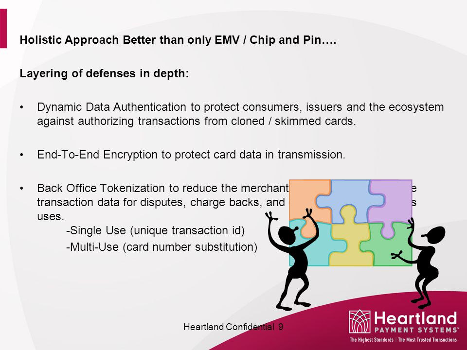 Holistic Approach Better than only EMV / Chip and Pin…. Layering of defenses in depth: Dynamic Data Authentication to protect consumers, issuers and t