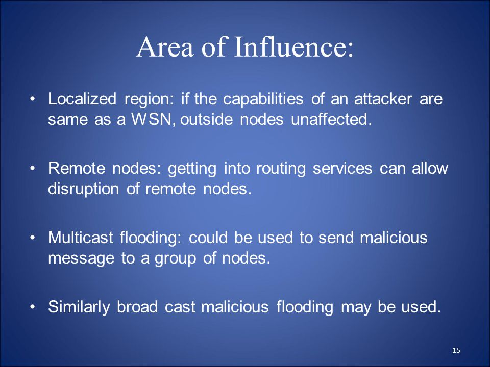 Area of Influence: Localized region: if the capabilities of an attacker are same as a WSN, outside nodes unaffected.