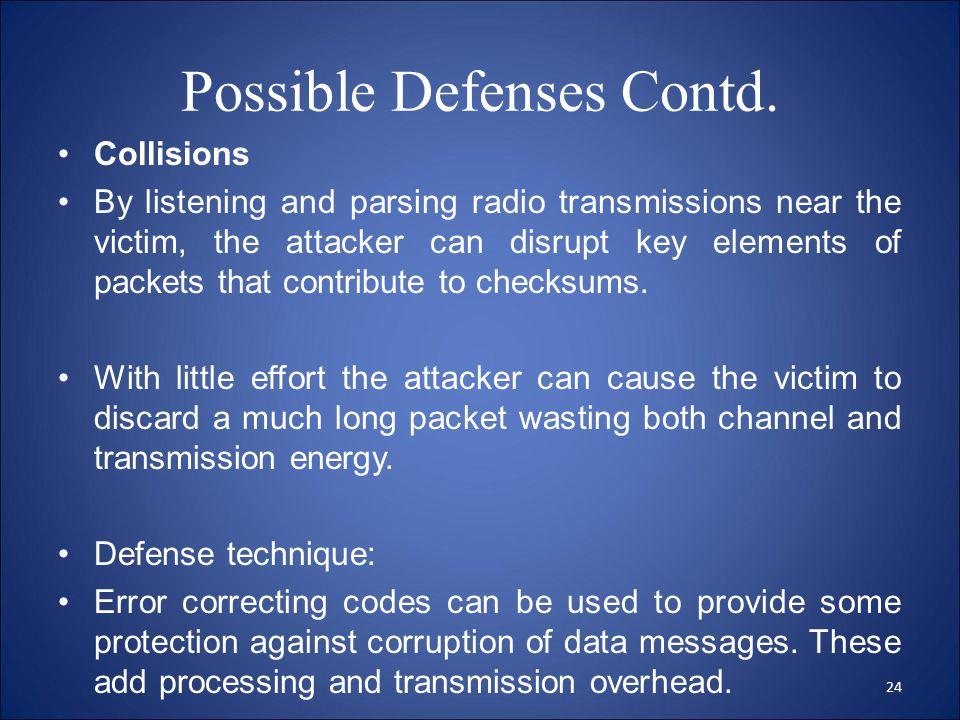Possible Defenses Contd.