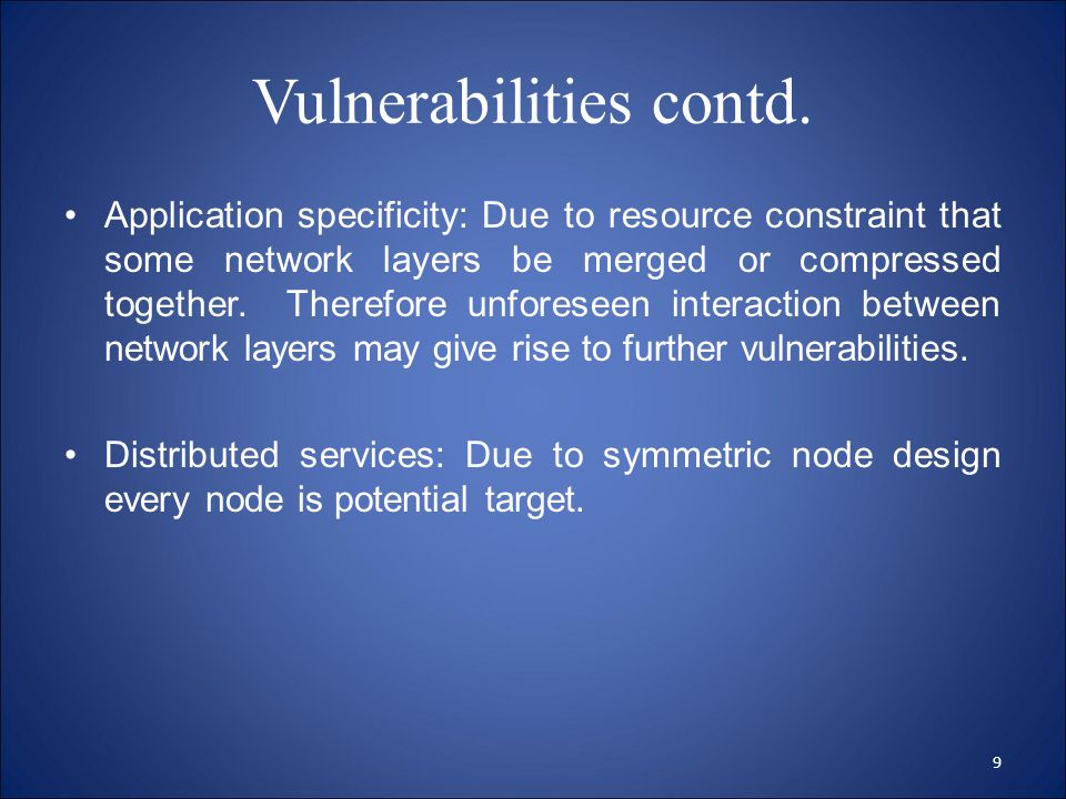 Vulnerabilities contd.