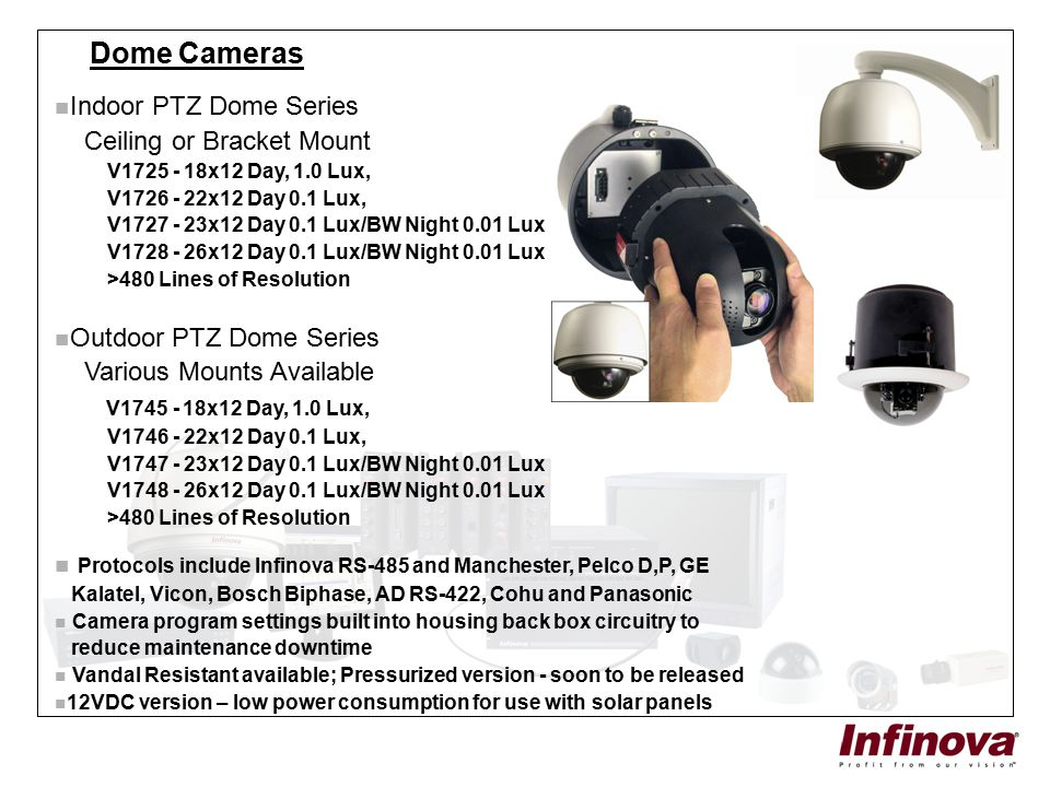 Dome Cameras Indoor PTZ Dome Series Ceiling or Bracket Mount V1725 - 18x12 Day, 1.0 Lux, V1726 - 22x12 Day 0.1 Lux, V1727 - 23x12 Day 0.1 Lux/BW Night