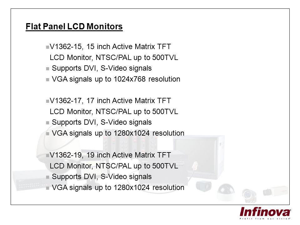Flat Panel LCD Monitors V1362-15, 15 inch Active Matrix TFT LCD Monitor, NTSC/PAL up to 500TVL Supports DVI, S-Video signals VGA signals up to 1024x76