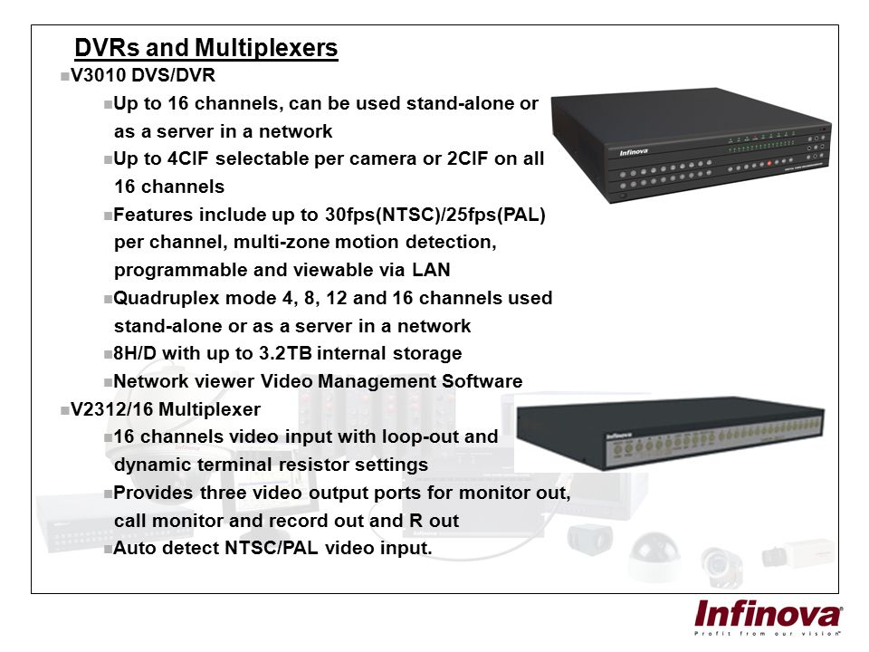 DVRs and Multiplexers V3010 DVS/DVR Up to 16 channels, can be used stand-alone or as a server in a network Up to 4CIF selectable per camera or 2CIF on