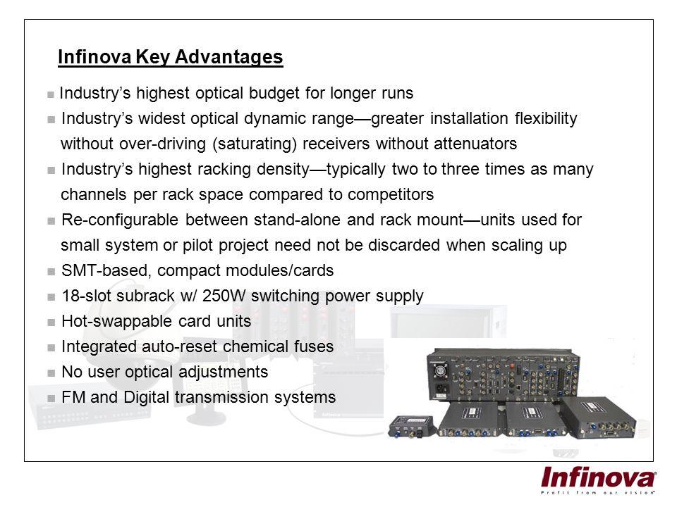 Infinova Key Advantages Industry's highest optical budget for longer runs Industry's widest optical dynamic range—greater installation flexibility wit
