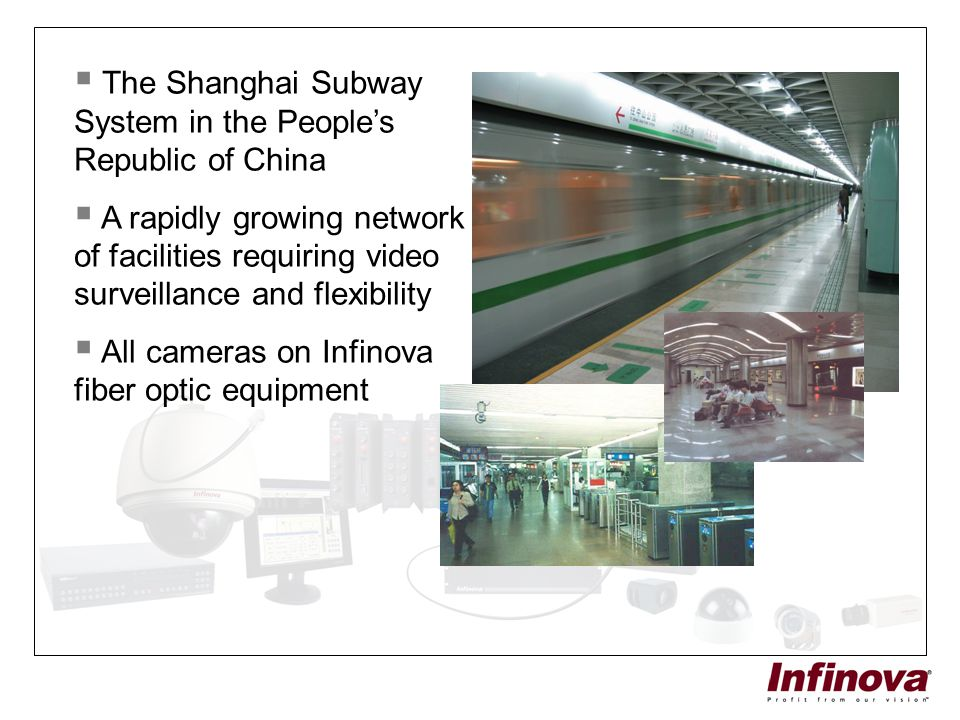  The Shanghai Subway System in the People's Republic of China  A rapidly growing network of facilities requiring video surveillance and flexibility