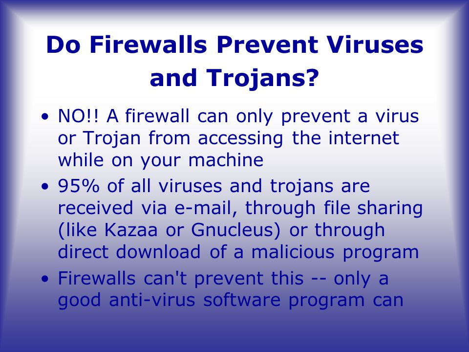Do Firewalls Prevent Viruses and Trojans.NO!.