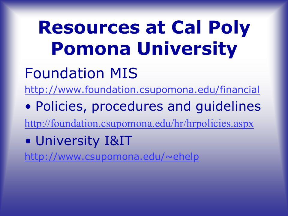 Resources at Cal Poly Pomona University Foundation MIS http://www.foundation.csupomona.edu/financial Policies, procedures and guidelines http://foundation.csupomona.edu/hr/hrpolicies.aspx University I&IT http://www.csupomona.edu/~ehelp
