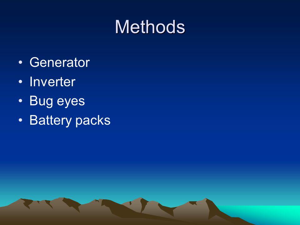 Methods Generator Inverter Bug eyes Battery packs