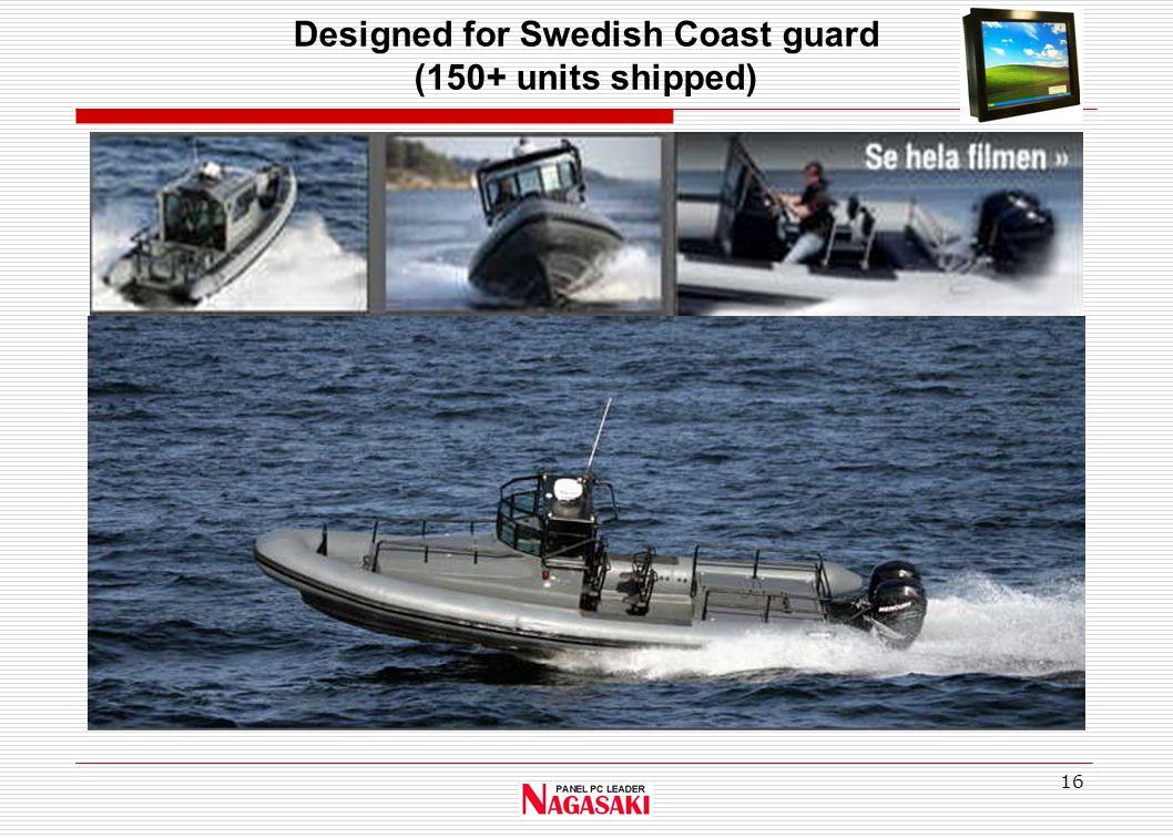 16 Designed for Swedish Coast guard (150+ units shipped)