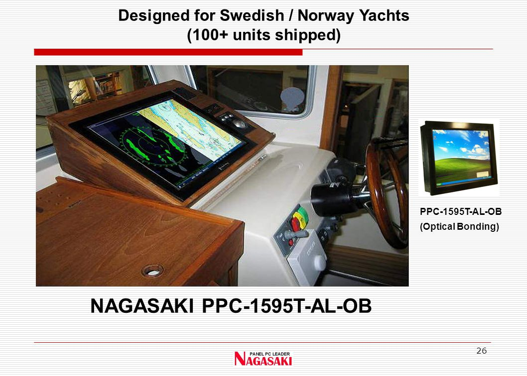 26 NAGASAKI PPC-1595T-AL-OB PPC-1595T-AL-OB (Optical Bonding) Designed for Swedish / Norway Yachts (100+ units shipped)