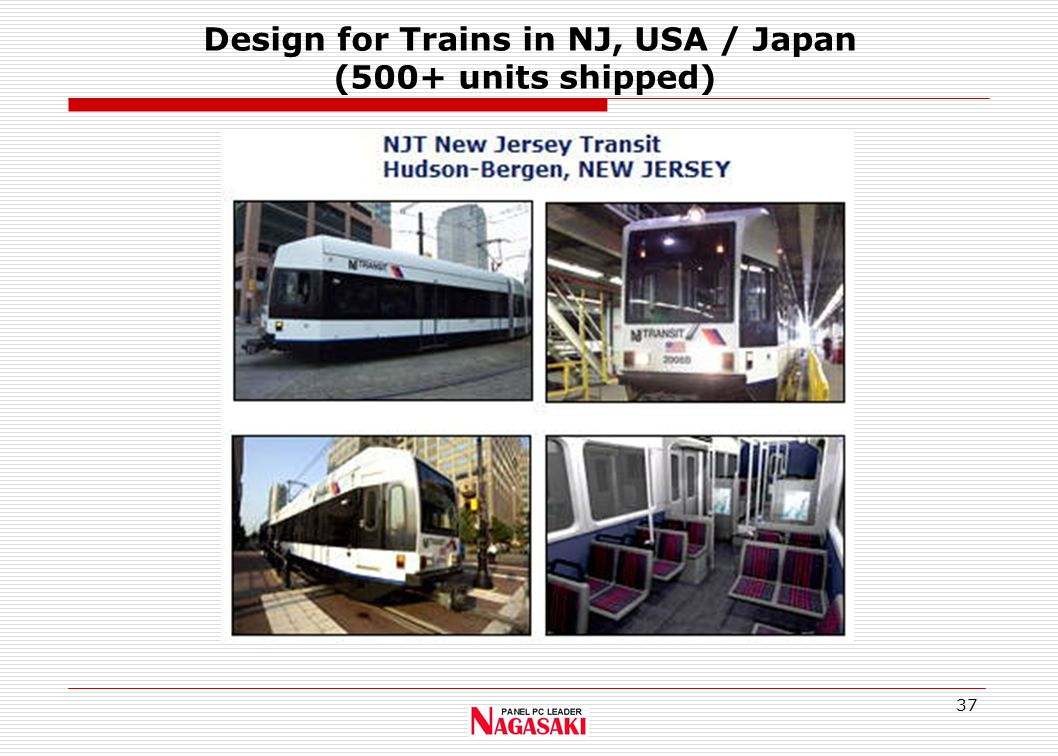 37 Design for Trains in NJ, USA / Japan (500+ units shipped)