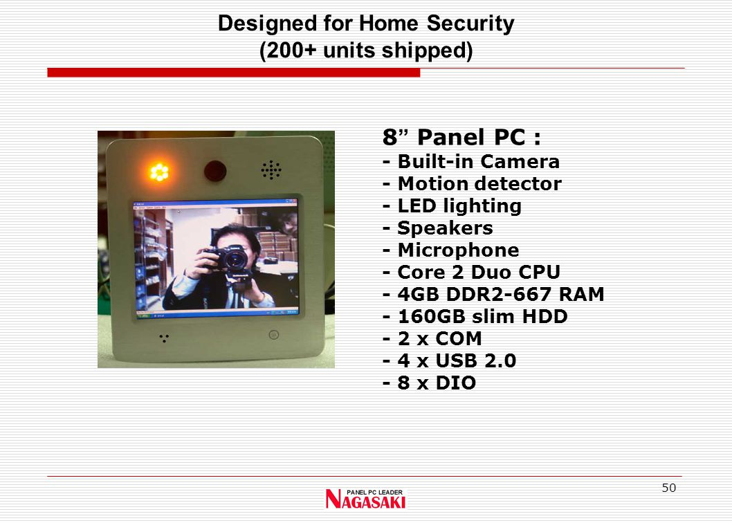 "50 Designed for Home Security (200+ units shipped) 8 "" Panel PC : - Built-in Camera - Motion detector - LED lighting - Speakers - Microphone - Core 2"