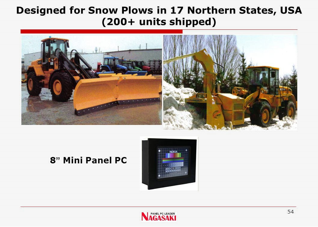 "54 8 "" Mini Panel PC Designed for Snow Plows in 17 Northern States, USA (200+ units shipped)"