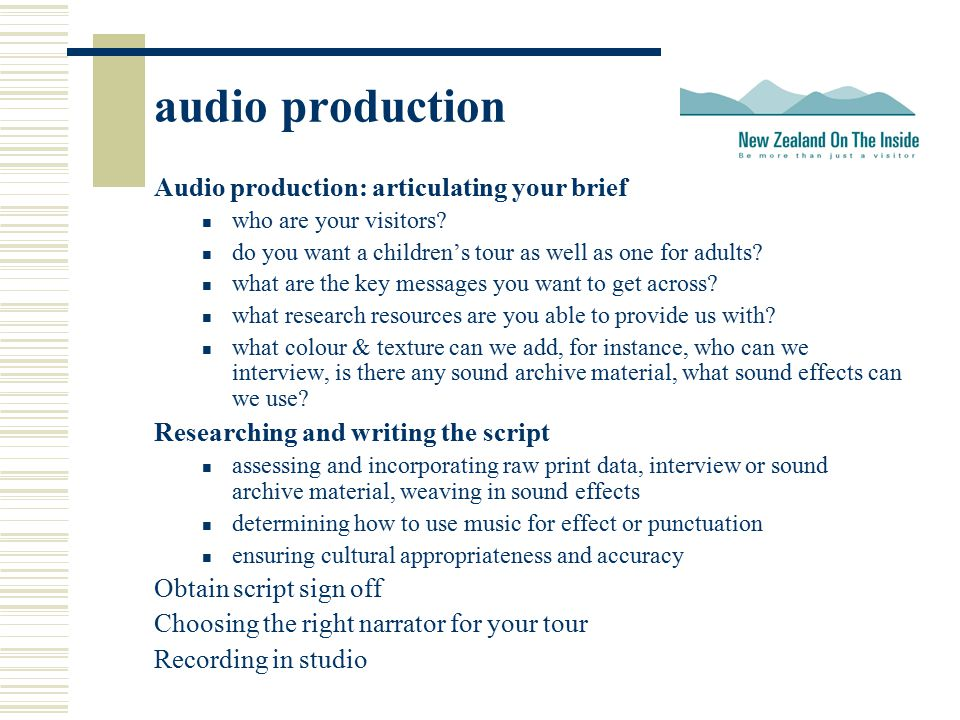 audio production Audio production: articulating your brief who are your visitors.