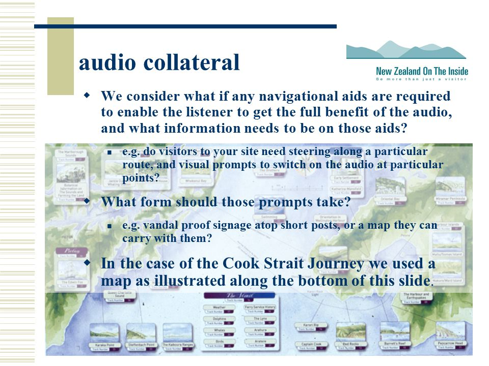 audio collateral  We consider what if any navigational aids are required to enable the listener to get the full benefit of the audio, and what information needs to be on those aids.