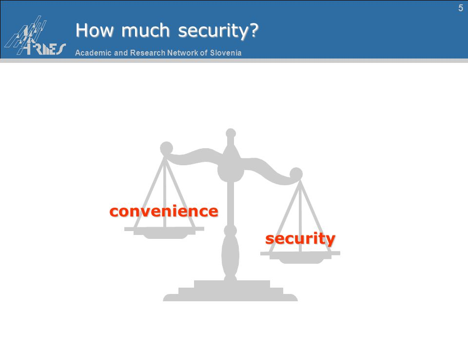 Academic and Research Network of Slovenia 5 How much security? security convenience