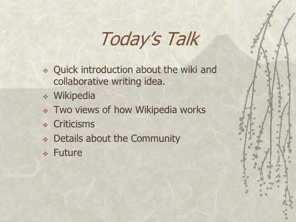 Collaborative Writing: Wiki and Wikipedia Keshava P Subramanya (keshava@cs.ucsb.edu)keshava@cs.ucsb.edu Roopa Kannan (roopakannan@cs.ucsb.edu)
