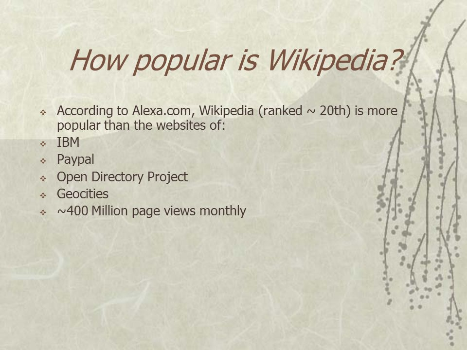How big is Wikipedia Globally? Total more than 5 million articles!  English – 1,412,000 articles  German – 172,000 articles  Japanese – 87,000 arti
