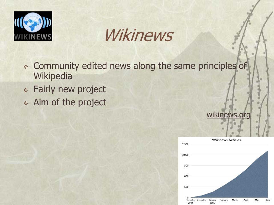 Wikimedia Projects  Wikipedia  Wiktionary  Wikibooks  Wikiquote  Wikispecies  Wikimedia Commons  Wikinews