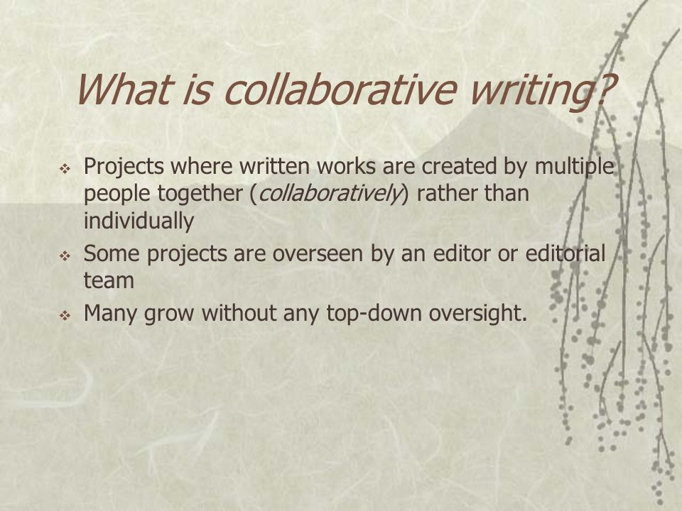 Today's Talk  Quick introduction about the wiki and collaborative writing idea.