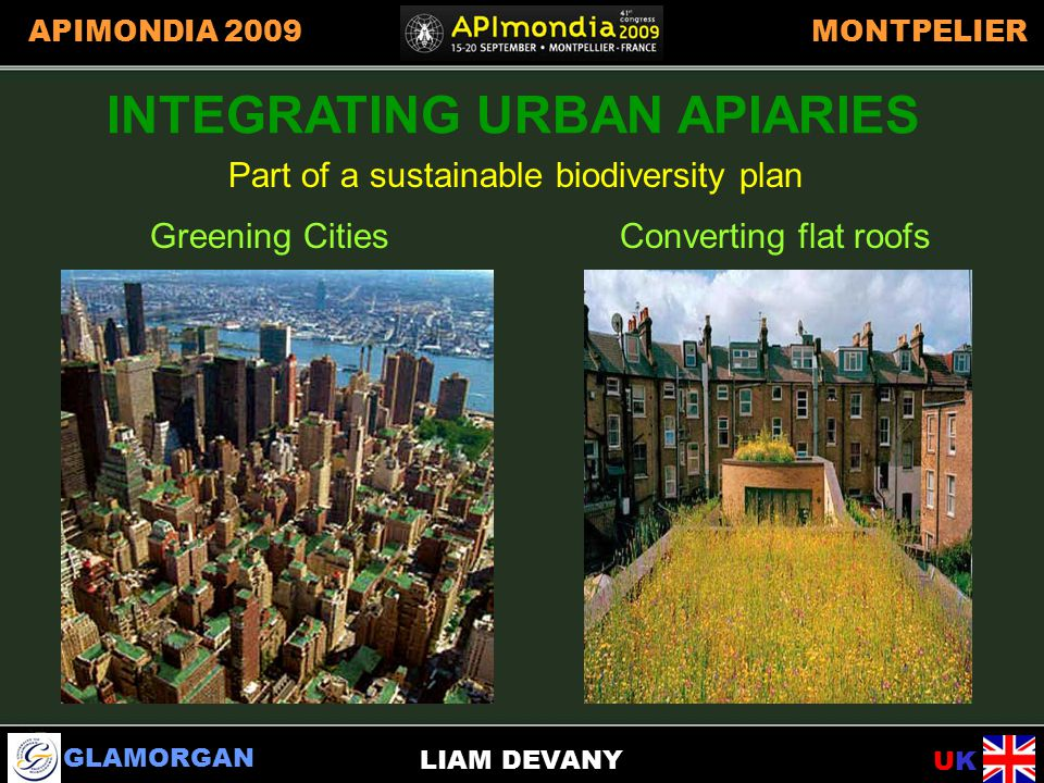 GLAMORGAN UKUK APIMONDIA 2009MONTPELIER LIAM DEVANY INTEGRATING URBAN APIARIES Part of a sustainable biodiversity plan Greening CitiesConverting flat roofs INTEGRATING URBAN APIARIES
