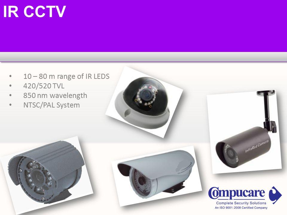 IR CCTV 10 – 80 m range of IR LEDS 420/520 TVL 850 nm wavelength NTSC/PAL System