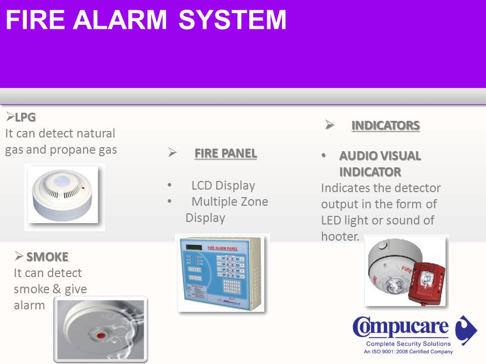 FIRE ALARM SYSTEM LPG  LPG It can detect natural gas and propane gas SMOKE  SMOKE It can detect smoke & give alarm FIRE PANEL  FIRE PANEL LCD Display Multiple Zone Display  INDICATORS AUDIO VISUAL INDICATOR AUDIO VISUAL INDICATOR Indicates the detector output in the form of LED light or sound of hooter.