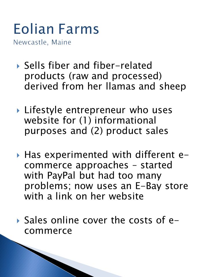  Sells fiber and fiber-related products (raw and processed) derived from her llamas and sheep  Lifestyle entrepreneur who uses website for (1) informational purposes and (2) product sales  Has experimented with different e- commerce approaches – started with PayPal but had too many problems; now uses an E-Bay store with a link on her website  Sales online cover the costs of e- commerce