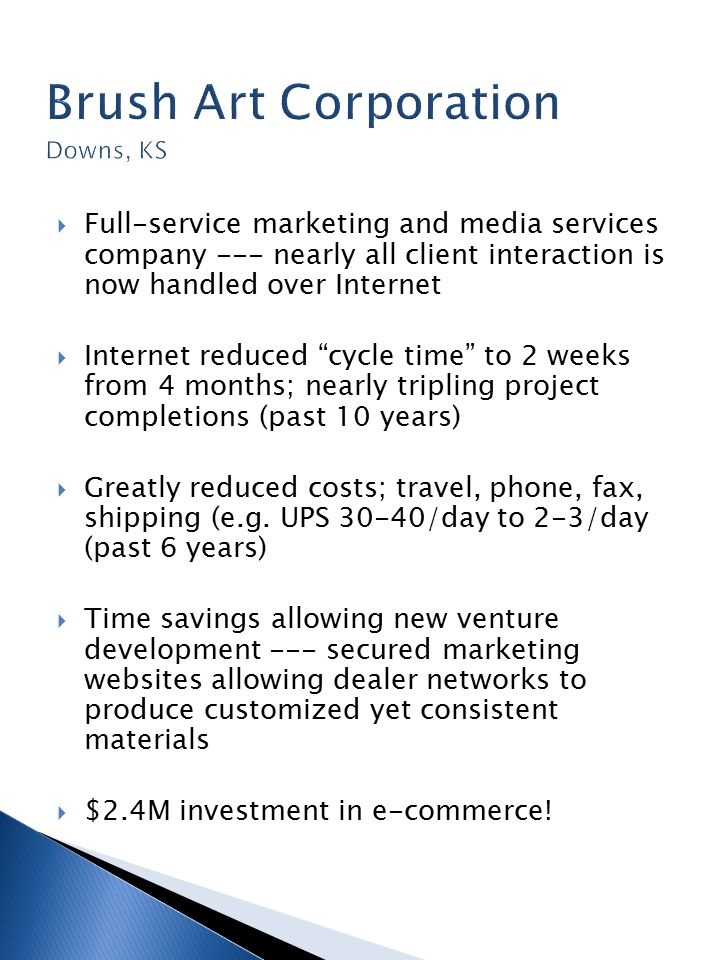  Full-service marketing and media services company --- nearly all client interaction is now handled over Internet  Internet reduced cycle time to 2 weeks from 4 months; nearly tripling project completions (past 10 years)  Greatly reduced costs; travel, phone, fax, shipping (e.g.