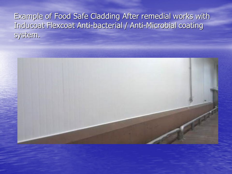 Example of Food Safe Cladding After remedial works with Inducoat Flexcoat Anti-bacterial / Anti-Microbial coating system.