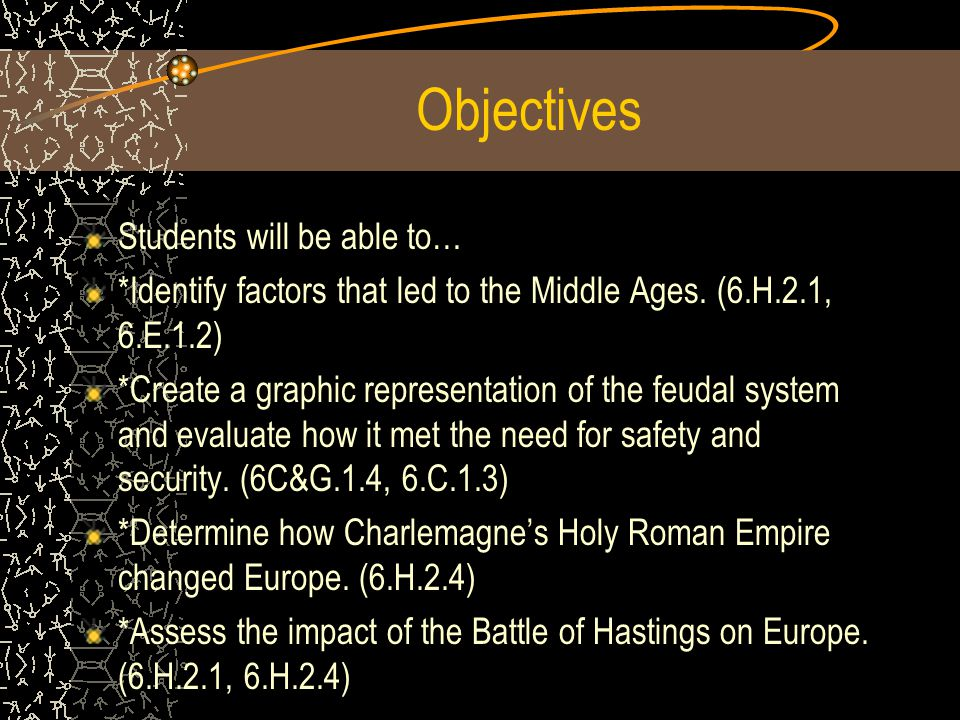 Objectives Students will be able to… *Identify factors that led to the Middle Ages.