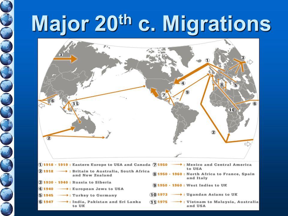 Major 20 th c. Migrations