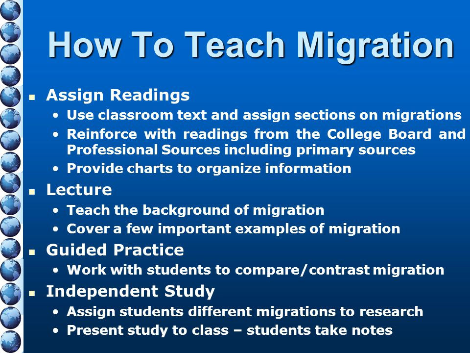 How To Teach Migration Assign Readings Use classroom text and assign sections on migrations Reinforce with readings from the College Board and Profess