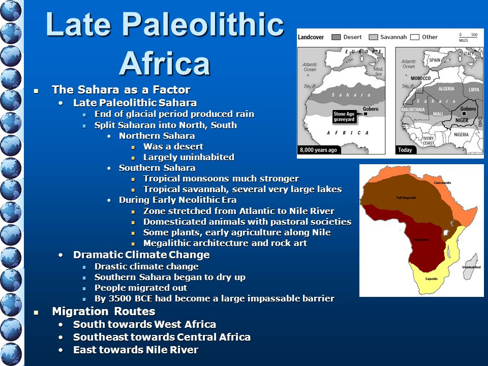 Late Paleolithic Africa The Sahara as a Factor The Sahara as a Factor Late Paleolithic SaharaLate Paleolithic Sahara End of glacial period produced ra