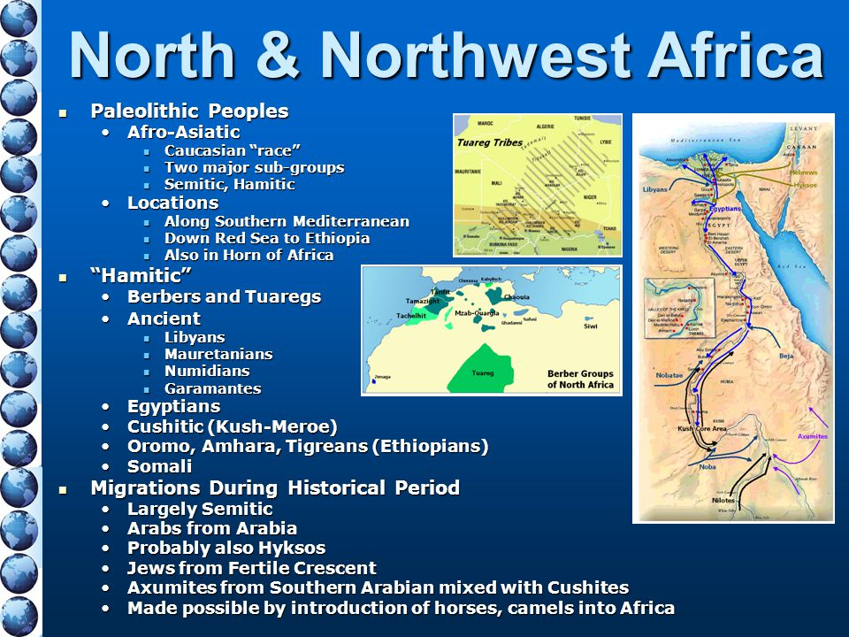 """North & Northwest Africa Paleolithic Peoples Paleolithic Peoples Afro-AsiaticAfro-Asiatic Caucasian """"race"""" Caucasian """"race"""" Two major sub-groups Two m"""