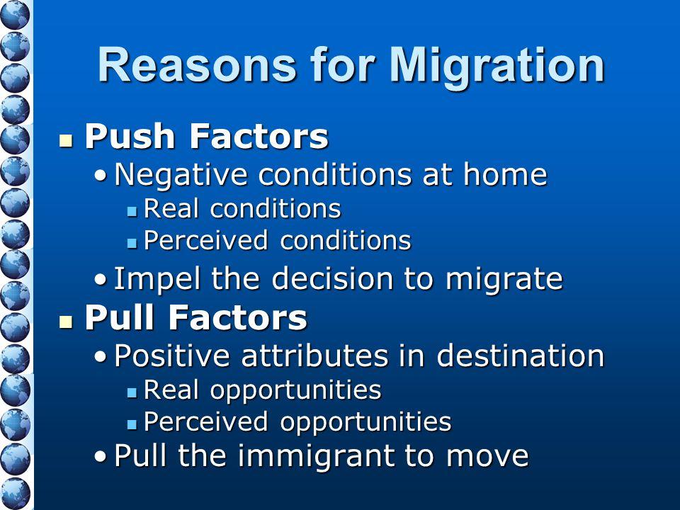 Reasons for Migration Push Factors Push Factors Negative conditions at homeNegative conditions at home Real conditions Real conditions Perceived condi