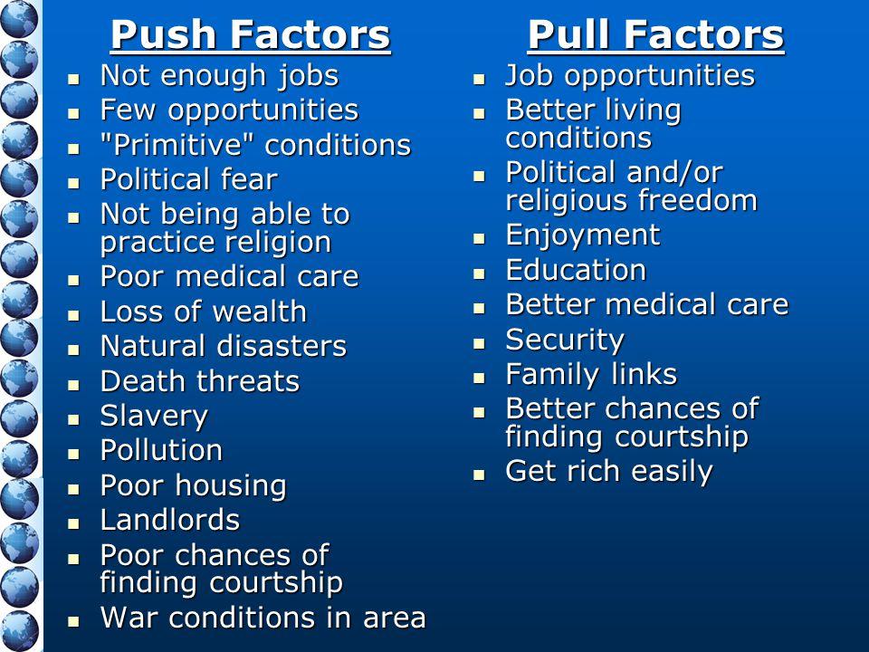 Push Factors Not enough jobs Not enough jobs Few opportunities Few opportunities