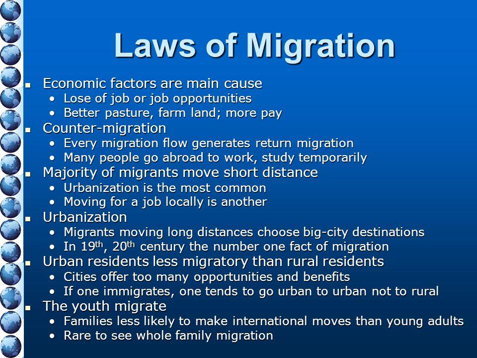 Laws of Migration Economic factors are main cause Economic factors are main cause Lose of job or job opportunitiesLose of job or job opportunities Bet